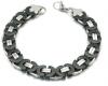 Flat Byzantine Bracelet Black n Chrome Designer Link Stainless Steel  FREE SHIPPING