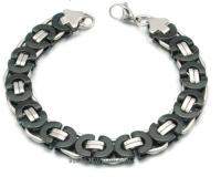 Flat Byzantine Bracelet Black n Chrome Designer Link Stainless Steel  FREE SHIPPING - Product Image