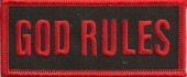 "GOD RULESReligious Patch1 1/2"" x 4""FREE SHIPPING - Product Image"