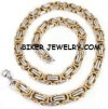 Gold / Chrome  Stainless Steel  9mm Byzantine Necklace  FREE SHIPPING