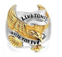 Gold Live to Ride Ride to Live Stainless Steel Motorcycle Biker RingAvailable in Sizes 9-14FREE SHIPPING - Product Image