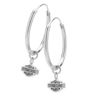 Harley Davidson® 25mm Hoop Earrings with Logo Mod Jewelry®HDE0138 - Product Image