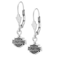 Harley-Davidson ® Bar & Shield Sterling Silver Dangle Earrings by Mod Jewelry®HDE0088 - Product Image