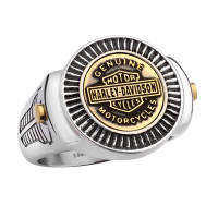 Harley-Davidson ® Motorcycle Mod Jewelry® Stainless Steel Brass Coin Top Men's Biker Ring with Bar & Shield Logo  Available in Sizes 9-15HSR0045 - Product Image