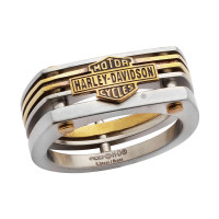 Harley-Davidson ® Motorcycle  Mod Jewelry® Stainless Steel Brass Industrial Cut Biker Men's Ring with Bar & Shield Logo  Available in Sizes 8-13HSR0035 - Product Image