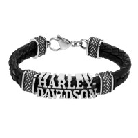 Harley Davidson ®  Mod ®  Western Style Leather Braided Men's Bracelet  HSB0221 - Product Image