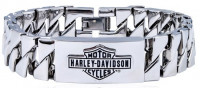 Harley Davidson ® Motorcycle Mod Jewelry® Men's Triangle Curb Link Stainless Steel Biker BraceletHSB0142  - Product Image