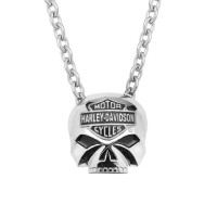 Harley-Davidson ® Stainless Steel Motorcycle Biker Willie G Skull Necklace Mod Jewelry® HSN0024 - Product Image