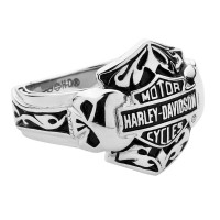 Harley-Davidson ® Stainless Steel Skull  Logo Men's Ring  By Mod Jewelry®  Available in Sizes 9-14HSR0002  - Product Image