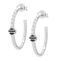 Harley-Davidson ® Sterling Silver Studded Hoop Women's Earrings Made by Mod Jewelry®HDE0341 - Product Image