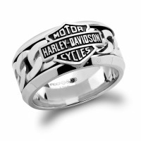 Harley-Davidson ® Wedding Band Stainless Steel Chain Link Logo RingHSR0031  - Product Image