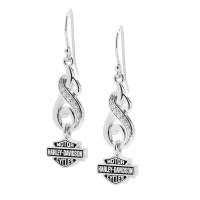 Harley-Davidson® Ladies Swirl & Stone Drop Earrings, Sterling SilverHDE0464 - Product Image