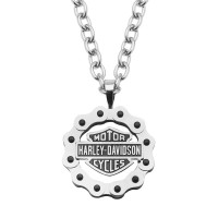 Harley-Davidson® Mod Jewelry® Men's or Women's Stainless Steel Bike Chain Bar & Shield Logo NecklaceHSN0028  - Product Image