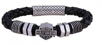 Harley Davidson® Mod Jewelry® Nuts and Bolts Leather Braided Men's Bracelet  HSB0220 - Product Image