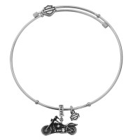 Harley-Davidson® & Mod Jewelry® Stainless Steel Motorcycle Charm Dangle Legend Bangle Bracelet  HSB0025  - Product Image
