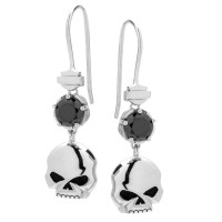 Harley-Davidson® Mod Jewelry® Women's Skull & Stone Drop Motorcycle Biker Earrings Sterling SilverHDE0519 - Product Image