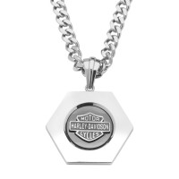 Harley-Davidson® Stainless Steel Hexagon Logo Necklace Curb Link by Mod Jewelry®HSN0022 - Product Image