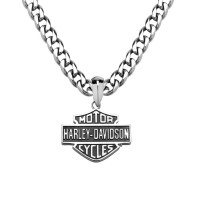 Harley-Davidson®  Stainless Steel Two Side Shield Logo Motorcycle Biker Pendant and Necklace HSN0049 - Product Image