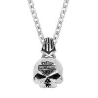 Harley-Davidson® Stainless Steel Willie G Skull Necklace Made by Mod Jewelry® HSN0003 - Product Image