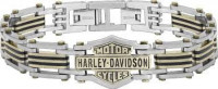 Harley-Davidson® Stainless Steel and Brass Bar and Shield Logo Biker Bracelet Mod Jewelry®HSB0188 - Product Image