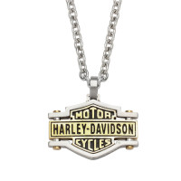 Harley-Davidson® Stainless Steel and Brass Bar and Shield Logo Pendant and Necklace by Mod Jewelry®HSN0045 - Product Image