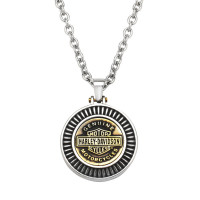 Harley-Davidson® Stainless Steel and Brass Round Logo Pendant and Necklace Made by Mod Jewelry®HSN0050 - Product Image