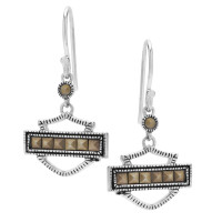 Harley-Davidson® Women's Marcasite Outline Bar & Shield Drop Earrings, Mod Jewelry®HDE0389 - Product Image