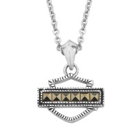 Harley-Davidson® Women's Necklace, Marcasite Bar & Shield, Sterling SilverHDN0329 - Product Image