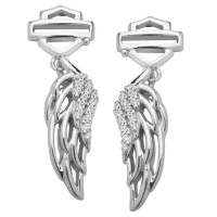 Harley-Davidson® Ladies Open Logo Bling Angel Wings Post Earrings by Mod®HDE0336 - Product Image