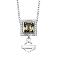 Harley-Davidson® Sterling Silver Black Ice Crystal Women's Square Necklace Mod Jewelry®HDN0310 - Product Image