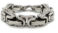 Huge Byzantine Square Link Stainless Steel Bracelet Available in 2 Sizes  FREE SHIPPING - Product Image