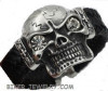 Huge Skull Leather Bracelet  Stainless Steel  FREE SHIPPING