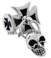 Iron Cross Stainless Steel Biker Ring  With a Dangling Skull  Sizes 9-13 FREE SHIPPING - Product Image
