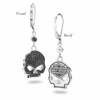 LADIES EARRINGS Sterling Silver Harley-Davidson ®  Black Ice  Willie G Skull  by Mod ®HDE0283  - Product Image