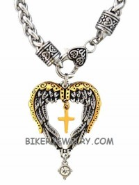 Ladies Angel Wing Heart Pendant Religious Cross Stainless Steel  FREE SHIPPING - Product Image