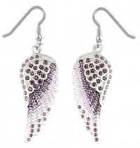 Ladies Purple Bling Angel Wing Earrings with Crystals  FREE SHIPPING - Product Image