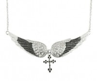 Ladies Black an White Angel Wing Crystal Necklace with Cross FREE SHIPPING - Product Image