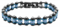 Ladies Black with a Blue Strip Center Stainless Steel Motorcycle Bracelet with Blue Crystals Police Line FREE SHIPPING - Product Image