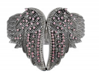 Ladies Bling Wing Stainless Steel Cuff Bangle Bracelet Pink  - Product Image