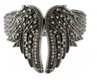 Ladies Bling Wing Stainless Steel Cuff Bangle Bracelet Iridescent - Product Image