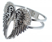 Ladies Bling Wing Stainless Steel Cuff Bangle Bracelet - Product Image