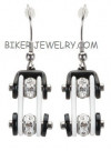 Ladies Earrings  Black and White  Bling Motorcycle Bike Chain Earrings  Stainless Steel  FREE SHIPPING