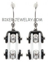 Ladies Earrings  Black and White  Bling Motorcycle Bike Chain Earrings  Stainless Steel  FREE SHIPPING - Product Image
