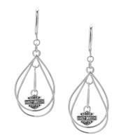 Ladies Earrings Dangle Tear Drop Wire Design Harley Davidson® Mod Jewelry® Sterling SilverHDE0247 - Product Image