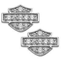 Ladies Earrings Harley-Davidson ® Sterling Silver Bling CZ Logo Medium Size Post HDE0228 - Product Image