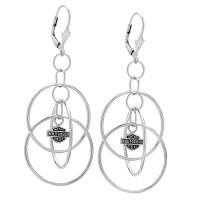 Ladies biker Earrings Harley-Davidson® Tri-Hoop Sterling Silver Mod Jewelry® HDE0055 - Product Image
