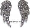 Ladies Biker Earrings Stainless Steel Angel Wing Bling  FREE SHIPPING