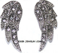 Ladies Biker Earrings Stainless Steel Angel Wing Bling  FREE SHIPPING - Product Image
