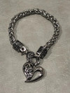 Ladies Free Form Heart Bracelet on a Designer Chain Stainless Steel  FREE SHIPPING