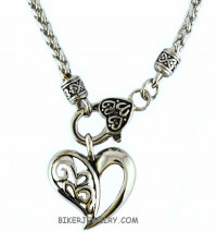 Ladies Free Form Heart Pendant on a Designer Chain Stainless Steel  FREE SHIPPING - Product Image